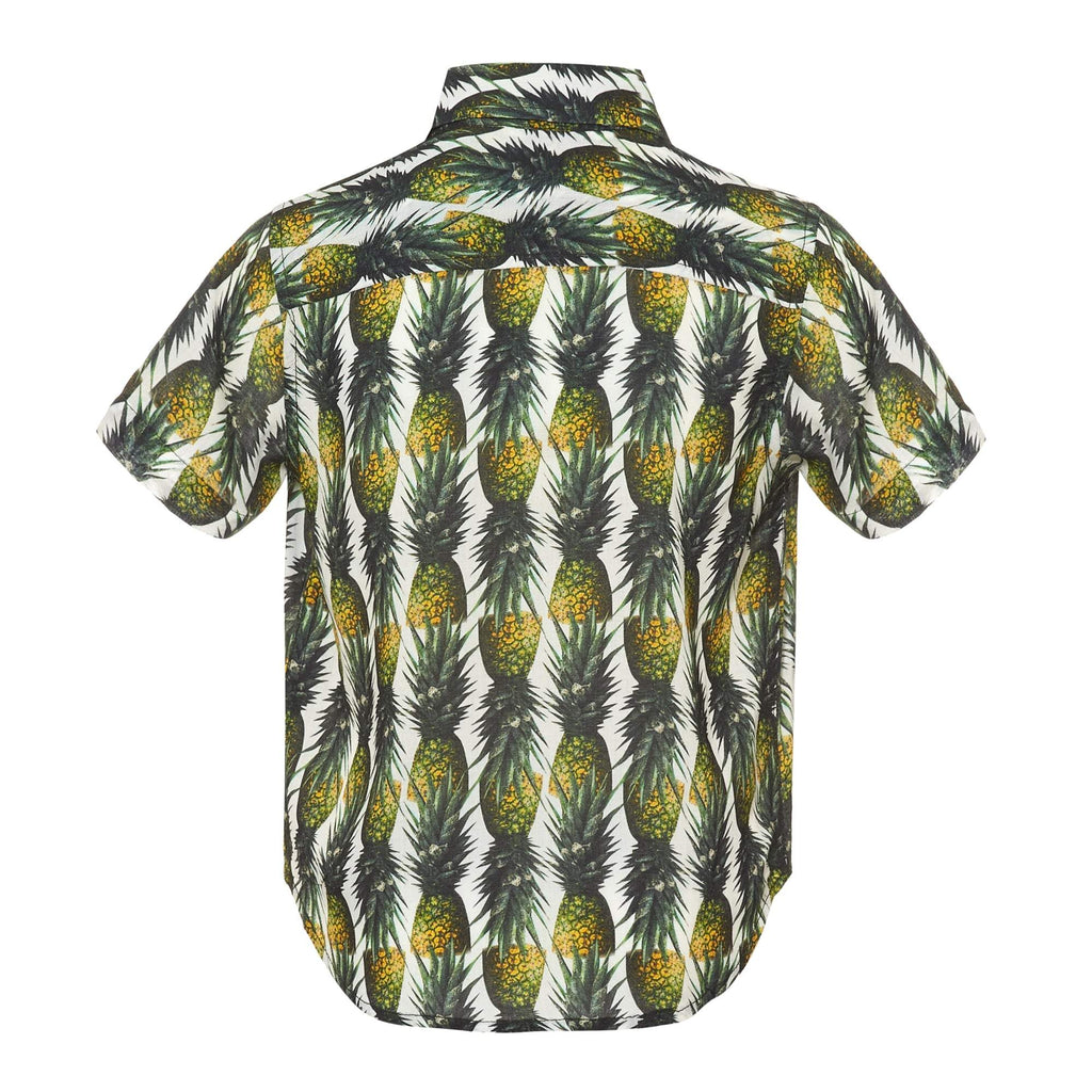 Our 'Montego' kids shirt showcasing a fruity pineapple design. Style this shirt with matching 'Montego' shorts for both kids and adults.