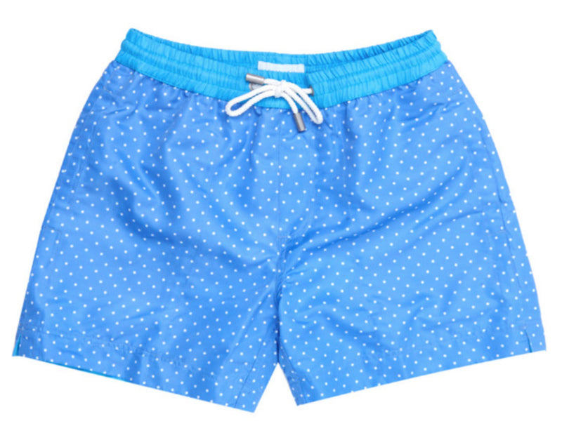 Our light Blue Naples Polka Dot swim short brings simple elegance to your holiday wardrobe.