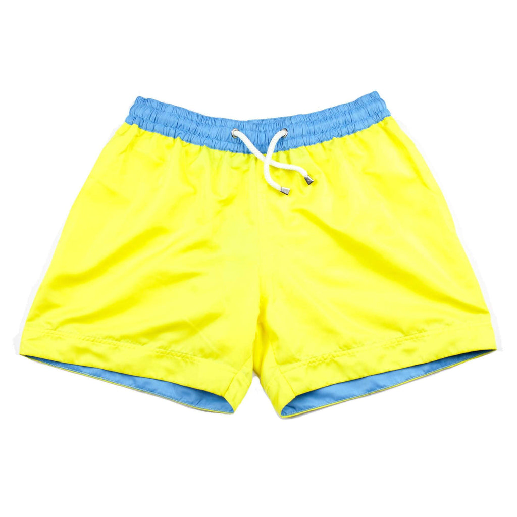 Our bold 'Pacha' shorts in a solid yellow colour. The 'Luca' fit features our signature Thomas Royall blue waistband with a relaxed day to night fit.