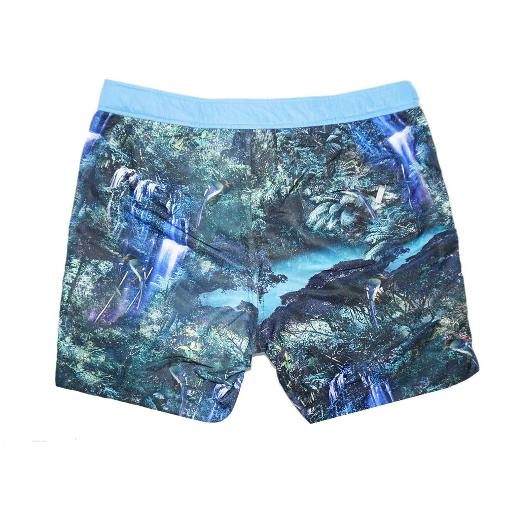 A photographic 'Rainforest' shorts featuring a forest and waterfall design. This 'George' fit features our signature Thomas Royall blue waistband with a smart tailored fit.