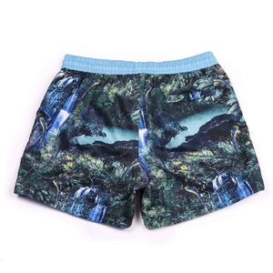 A photographic 'Rainforest' design featuring forest and waterfall. The 'Luca' fit features our signature Thomas Royall blue waistband with a relaxed day to night fit.
