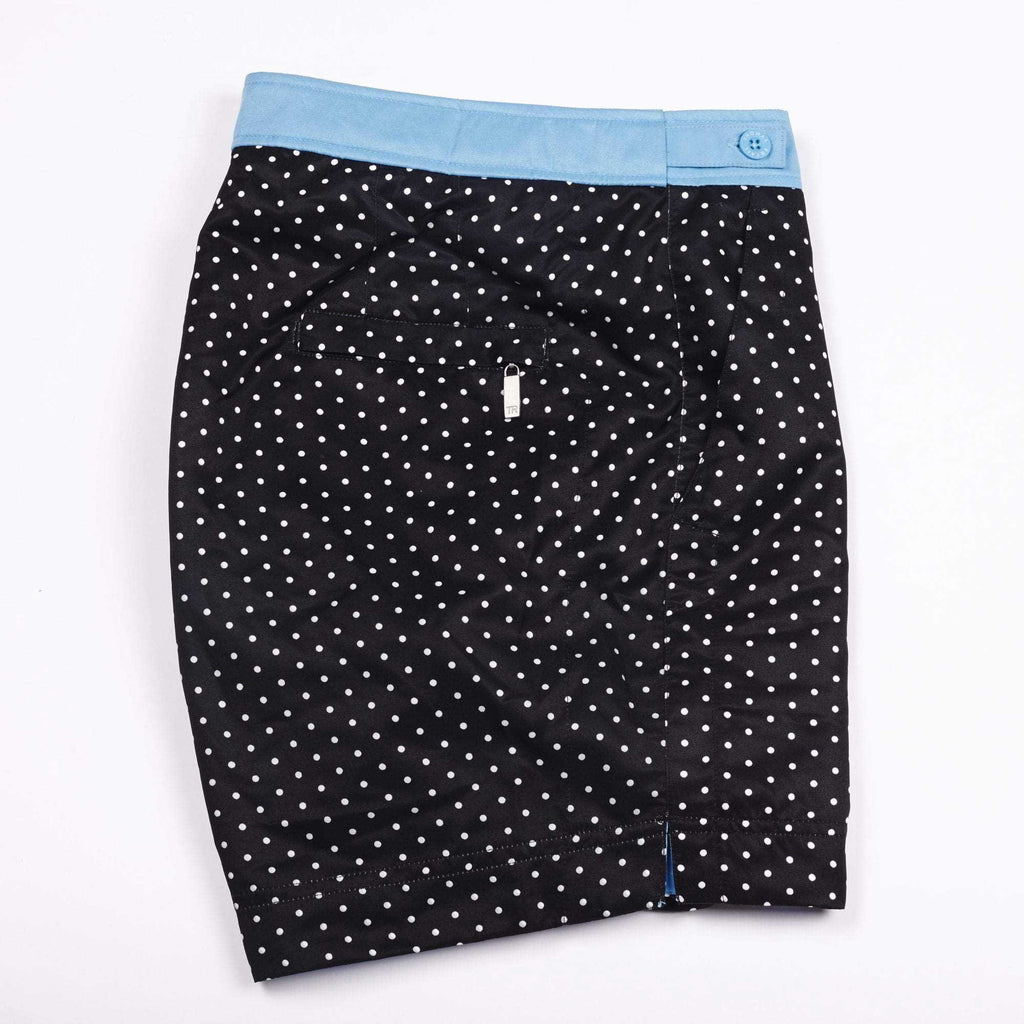 Black with white polka dot design. The 'George' style fit features the signature Thomas Royall blue waistband with a smart tailored fit.
