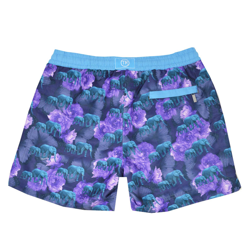 Safari' shorts showcasing our floral elephant design. This 'Luca' style features our signature Thomas Royall blue waistband with a relaxed day to night fit.