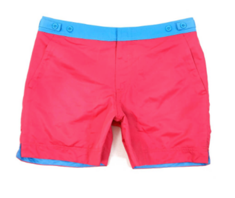 Fuchsia Pink George Mid Length Mens Swim Shorts