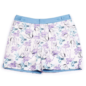 The 'Thailand' shorts featuring a butterfly, flamingo and bird design. This 'George' fit features our signature Thomas Royall blue waistband with a smart tailored fit.