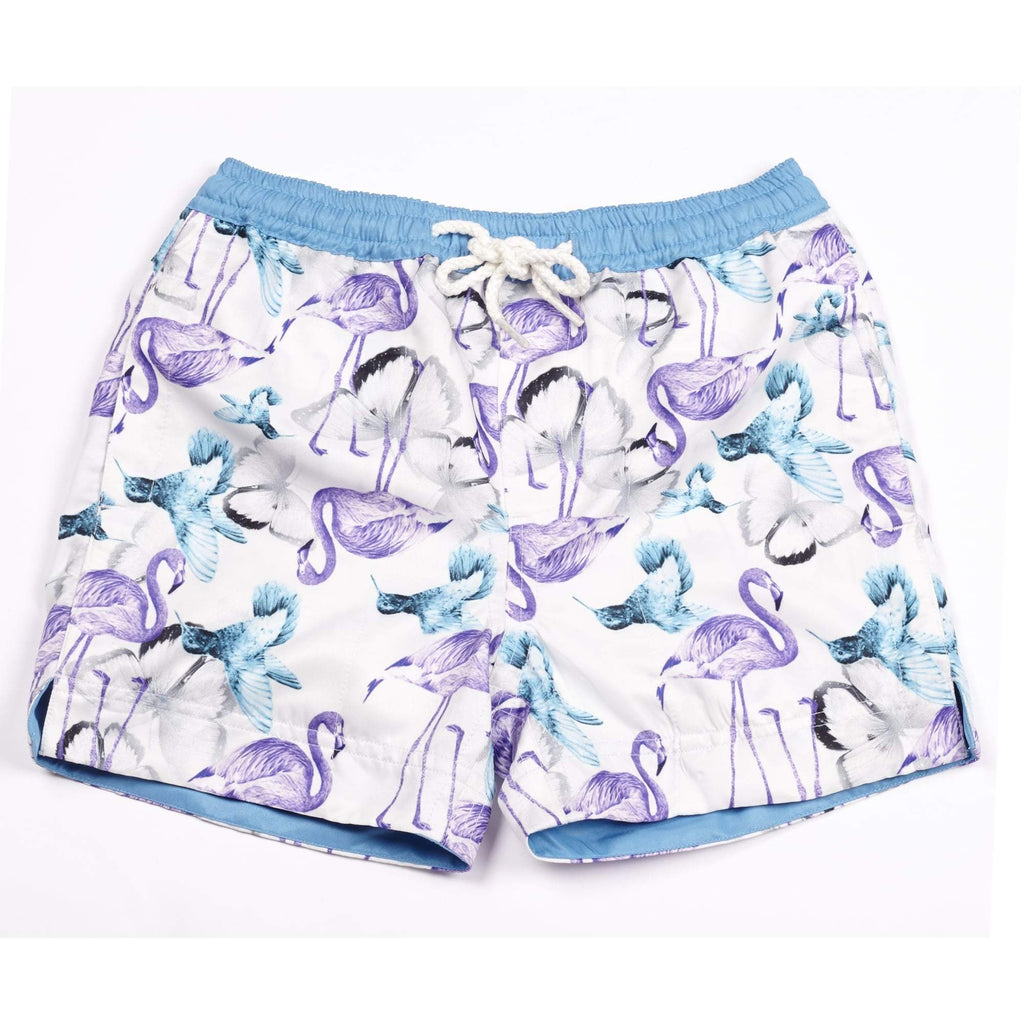 Our 'Thailand' kids shorts featuring a flamingo and butterfly overlay design.
