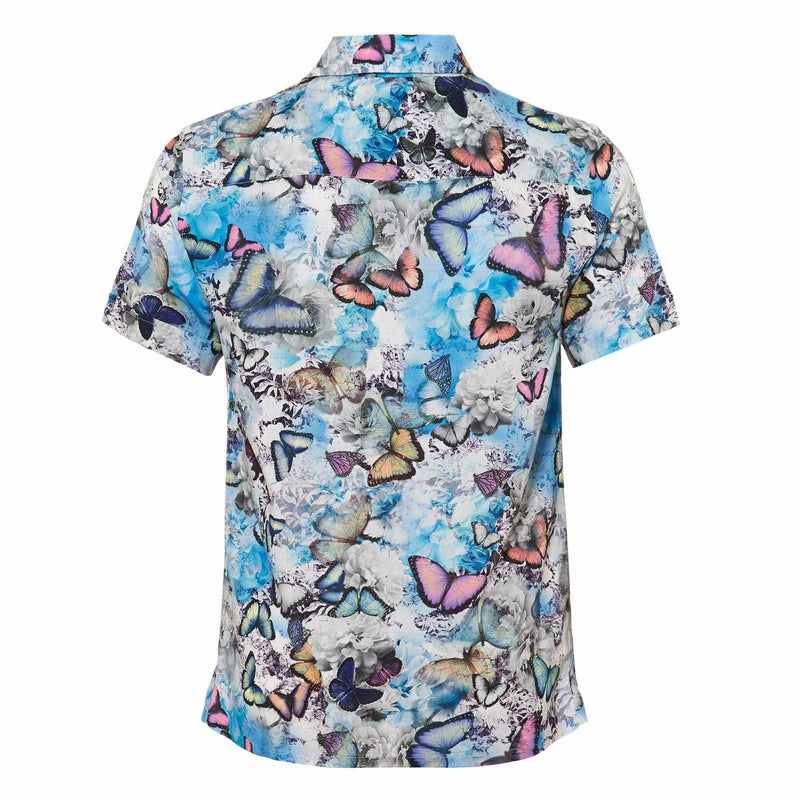 The 'Tropical' mens shirt showcasing a our signature butterfly design. Style this shirt with matching 'Tropical' shorts for both kids and adults.