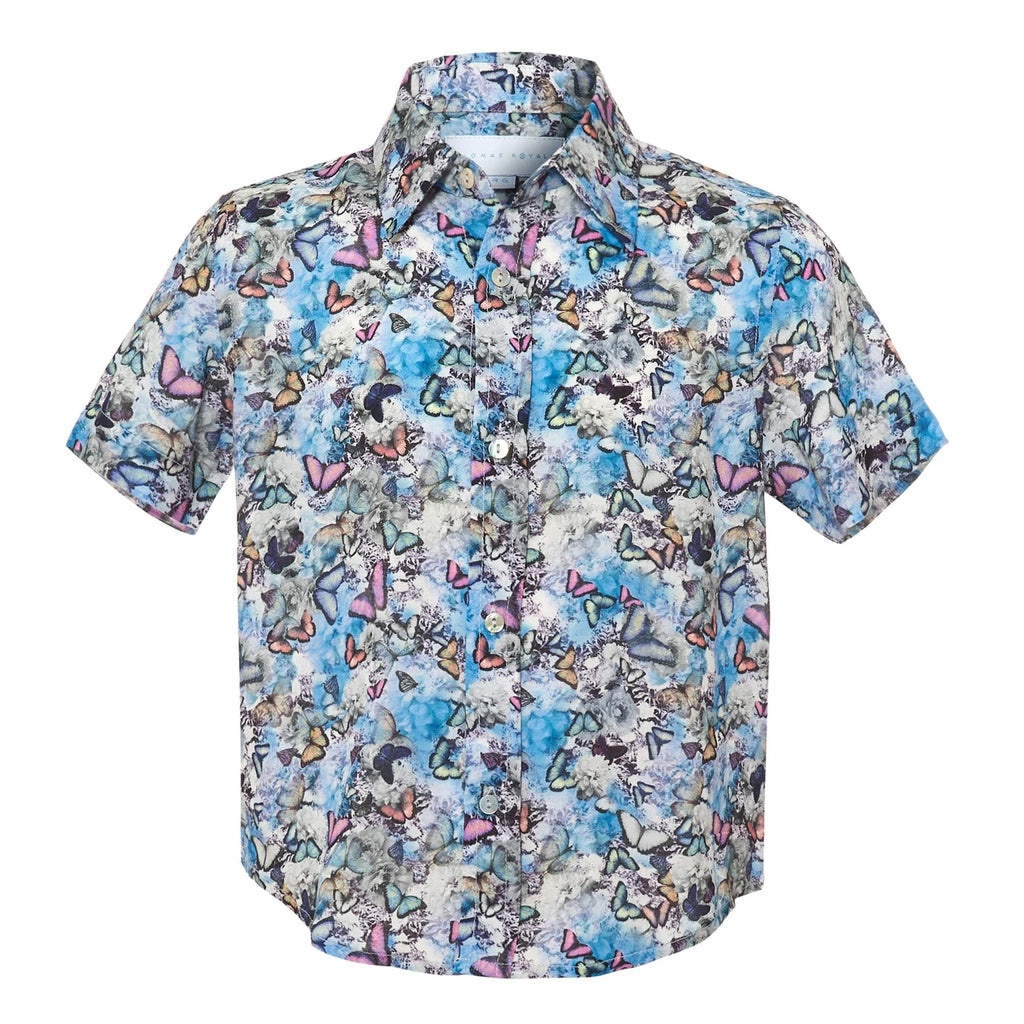 Our sell out 'Tropical' patterned kids shirt showcasing a our signature butterfly design