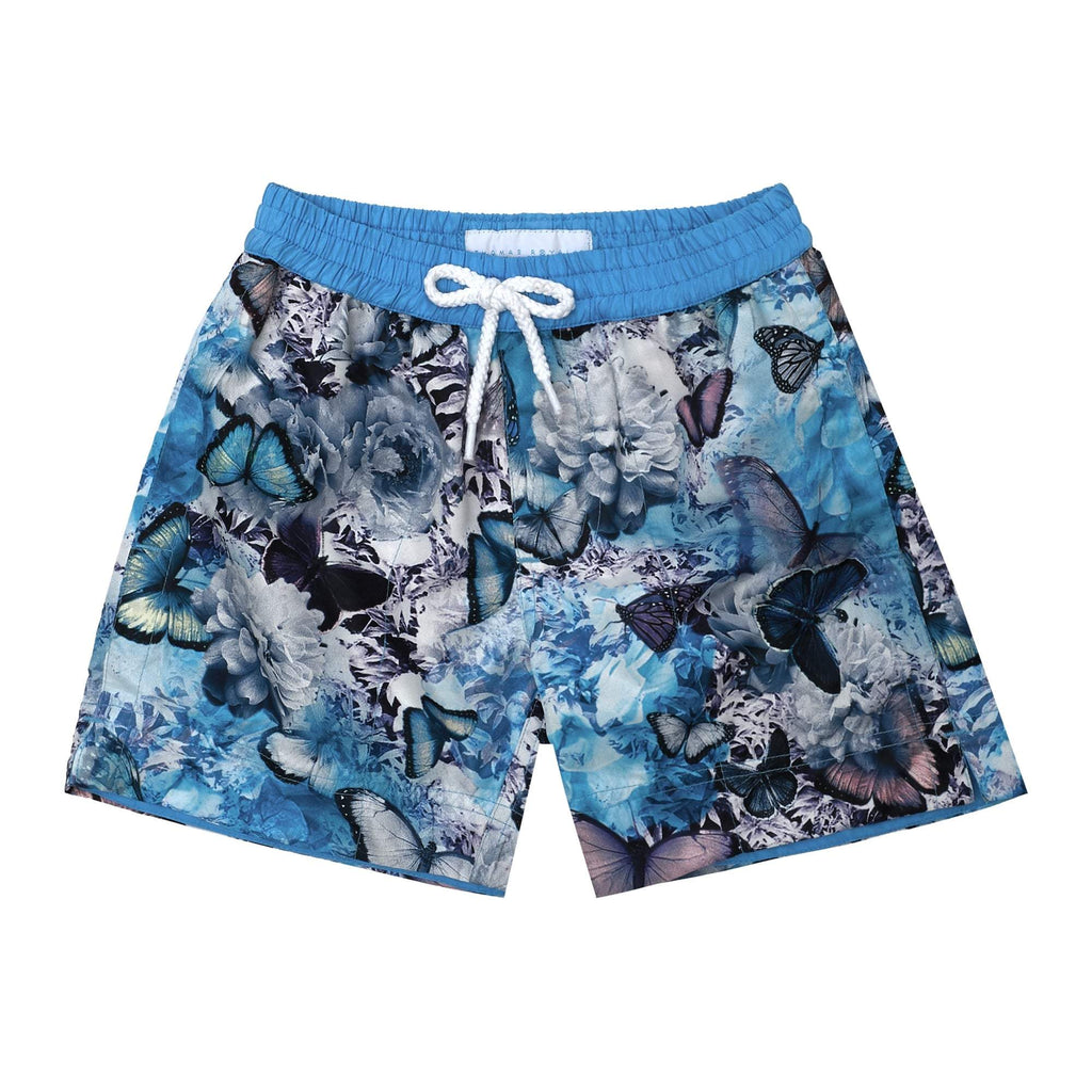 Tropical' kids shorts showcasing a our signature butterfly design. This 'Luca' style features our signature Thomas Royall blue waistband.