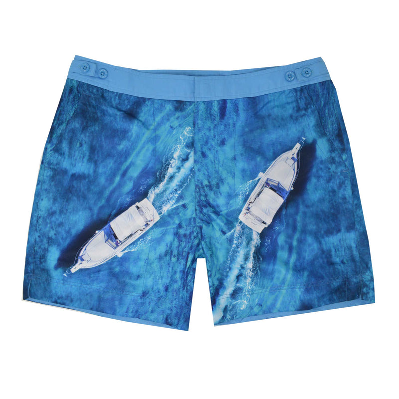 The 'Vancouver' shorts showcasing a dual speed boat design. This 'George' fit features our signature Thomas Royall blue waistband with a smart tailored fit.