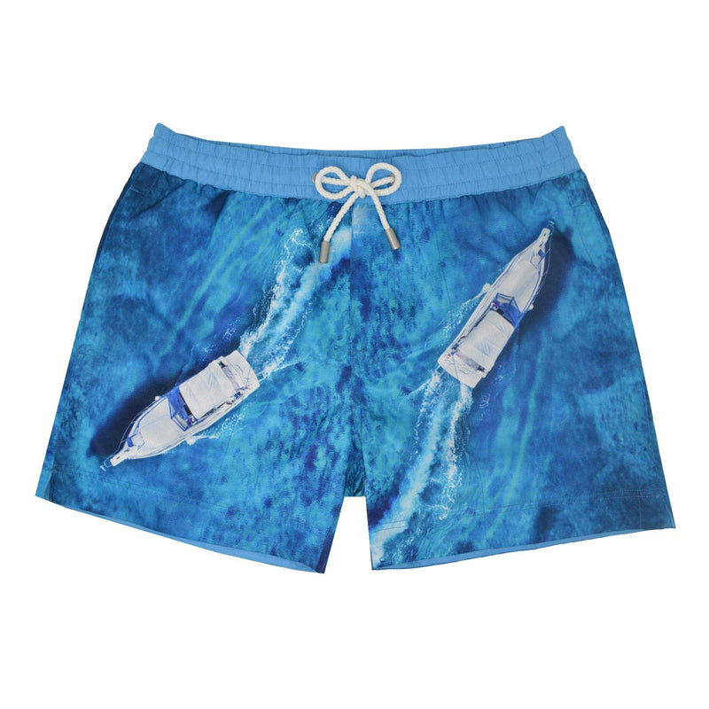 The 'Vancouver' shorts showcasing a dual speed boat design. This 'Luca' style features our signature Thomas Royall blue waistband with a relaxed day to night fit.