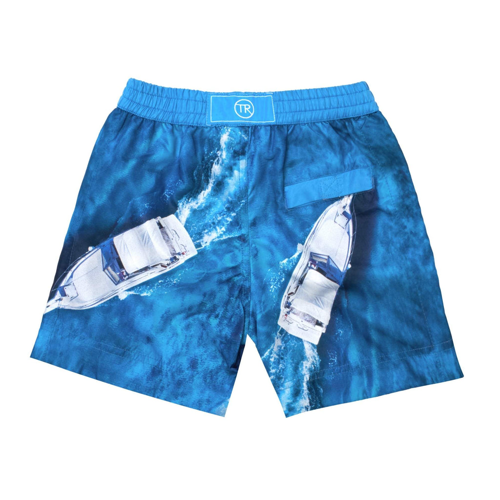 Vancouver' kids shorts showcasing a dual speed boat design. This 'Luca' style features our signature Thomas Royall blue waistband with a relaxed day to night fit.