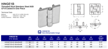 HINGE1B Non-Detachable Hinge Threaded Stud Stainless Steel AISI CF-8 Casted In One Piece, 304 (A2)