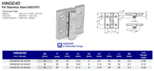 HINGE4D Extended Hinge Pin Stainless Steel AISI316Ti
