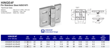 HINGE4F Extended Hinge Pin Stainless Steel AISI316Ti