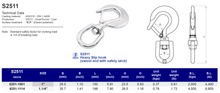 S2511 Heavy slip hook (swivel end with safety latch)