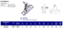 S316061A Deck hinge (rail mount with removable pin)