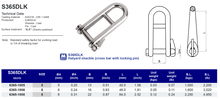 S365DLK Halyard shackle (cross bar with locking pin)