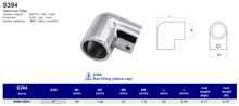 S394 Rail fitting (elbow cap)