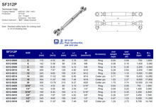 SF312P Pipe turnbuckle, jaw and jaw