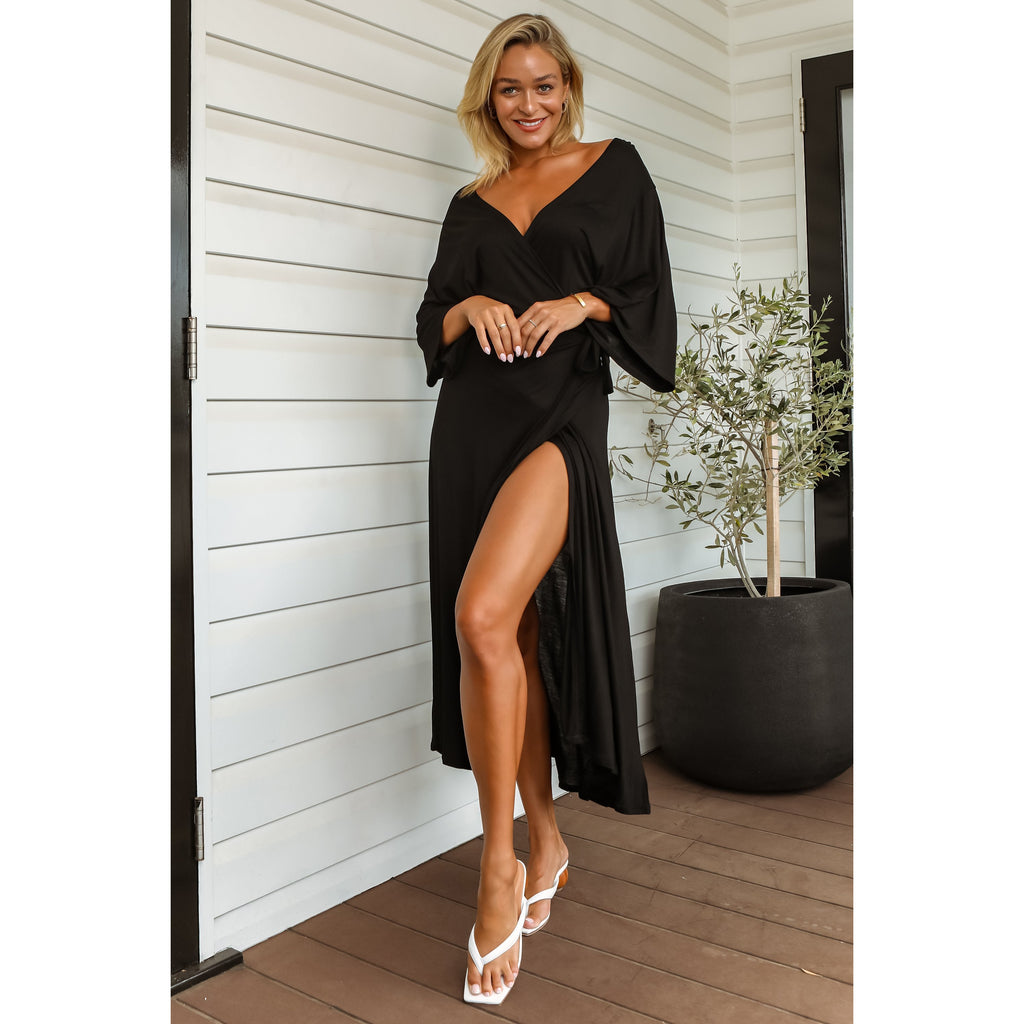 Darcy Bamboo Wrap Dress - Onyx