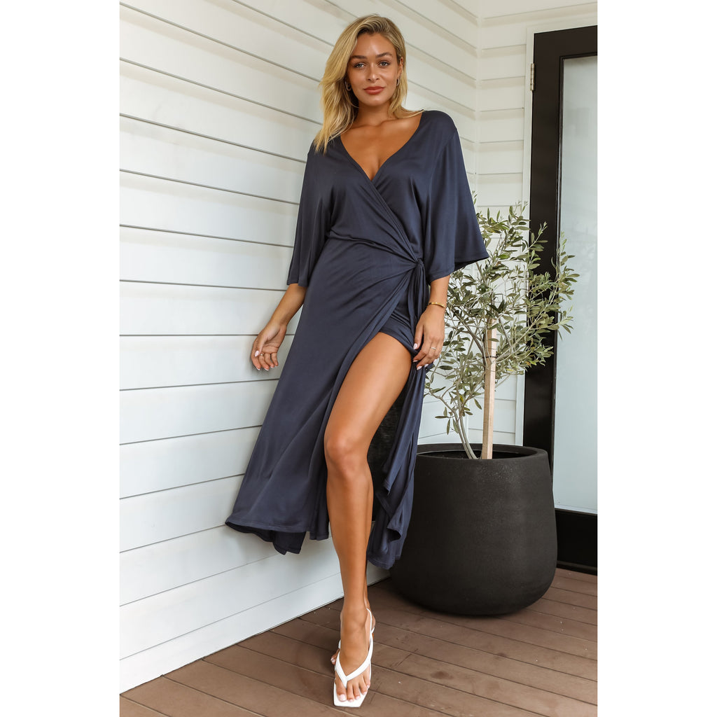Darcy Bamboo Wrap Dress - Navy