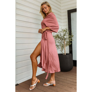 Darcy Bamboo Wrap Dress - Dusty Pink