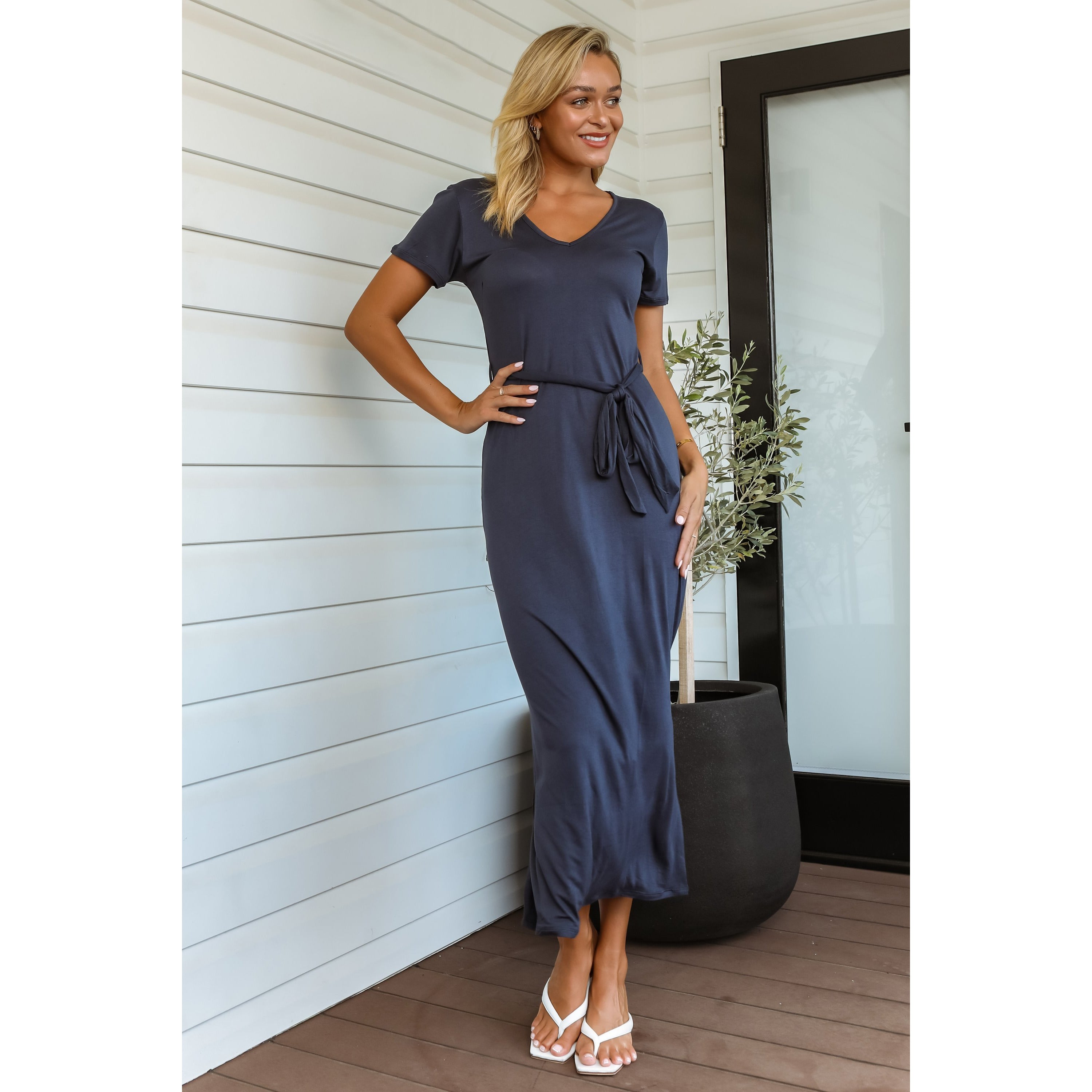 Jessy Bamboo Midi Dress - Navy