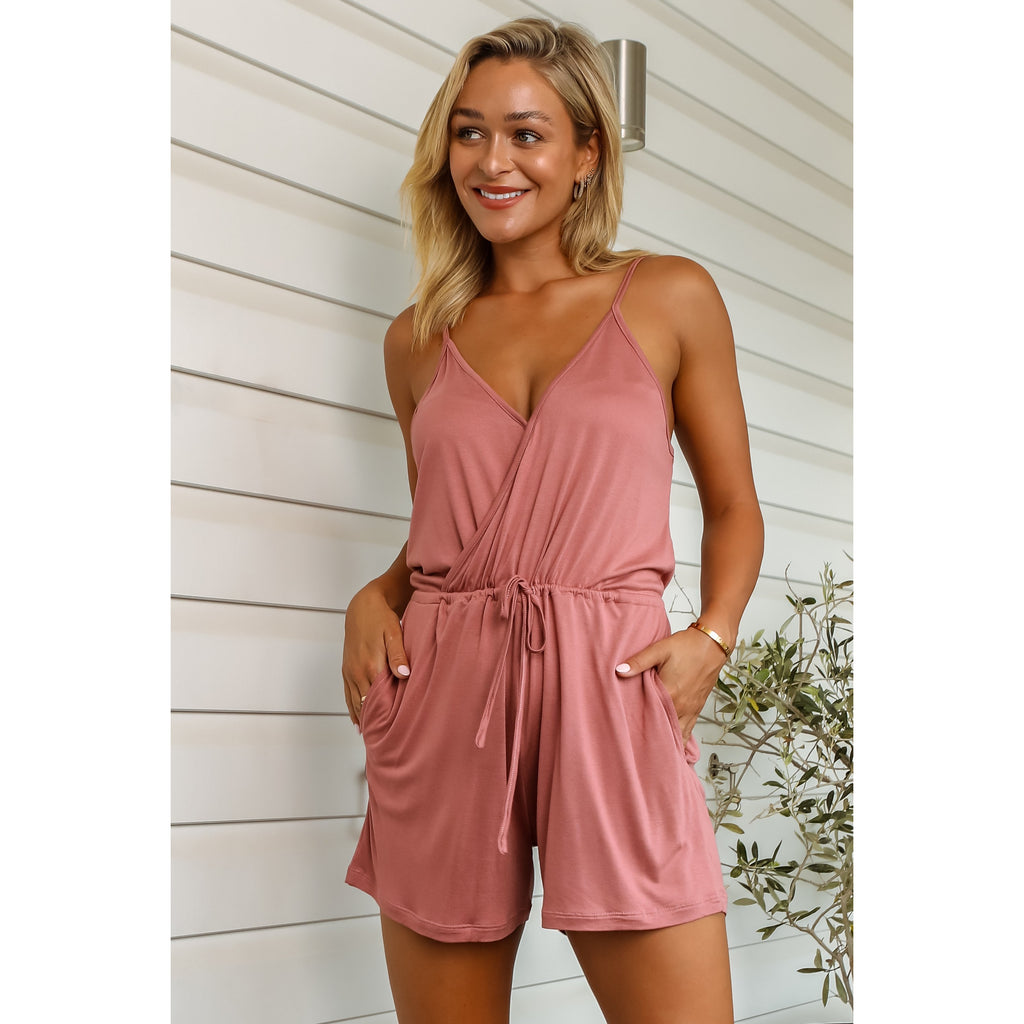Mykala Bamboo Playsuit - Dusty Rose
