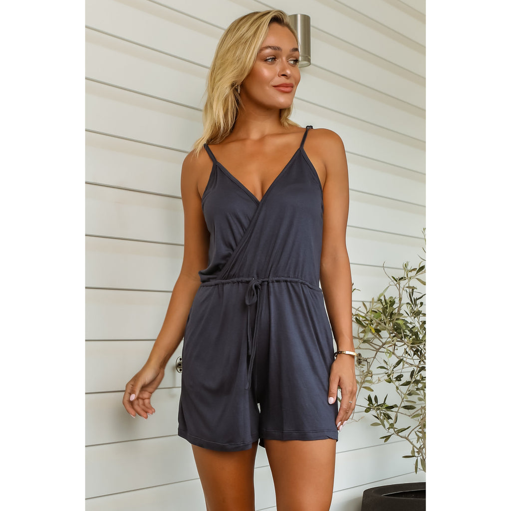 Mykala Bamboo Play Suit - Navy
