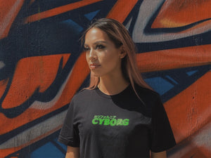 geek lord anime clothing neon green cyborg cyber punk cyberpunk womens crop top black shirt tshirt shirts crops