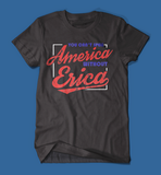 you can't spell america without erica stranger things men's/unisex t-shirt in black