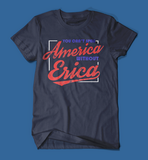 you can't spell america without erica stranger things men's/unisex t-shirt in navy