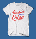 you can't spell america without erica stranger things men's/unisex t-shirt in white