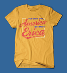 you can't spell america without erica stranger things men's/unisex t-shirt in yellow