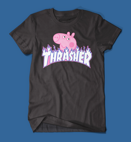 Peppa Pig Thrasher Parody Men's/Unisex T-Shirt in Black