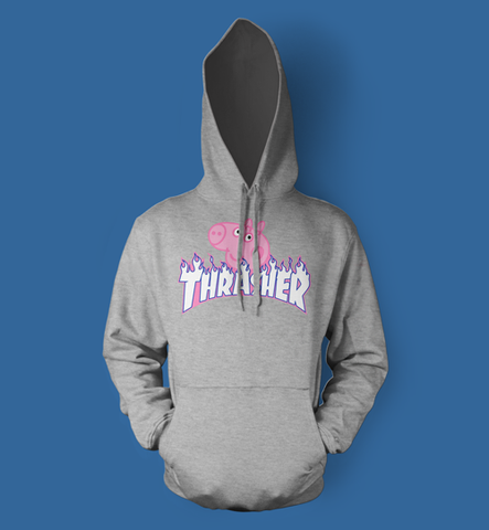 Peppa Pig Thrasher Parody Men's/Unisex Hoodie in Grey