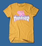 Peppa Pig Thrasher Parody Men's/Unisex T-Shirt in Yellow