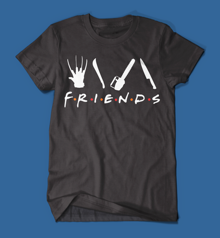 Iconic Horror Movie Villains Friends Parody Men's/Unisex T-Shirt in Black
