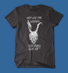 why are you wearing that stupid man suit donnie darko movie men's/unisex t-shirt in black