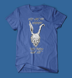 why are you wearing that stupid man suit donnie darko movie men's/unisex t-shirt in blue