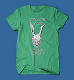 why are you wearing that stupid man suit donnie darko movie men's/unisex t-shirt in green