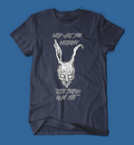 why are you wearing that stupid man suit donnie darko movie men's/unisex t-shirt in navy