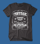 Vintage Style Insert Birth Year Black T-Shirt