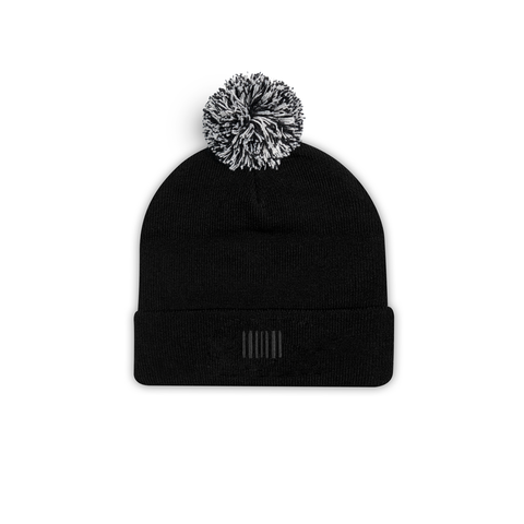 THE BOSTON POM BEANIE BLACK - THE LABEL LTD