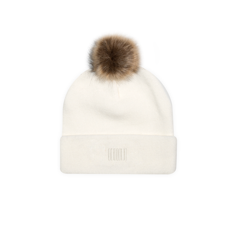 THE BOSTON POM BEANIE WHITE - THE LABEL LTD
