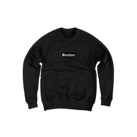 Mens Box Logo Black Crewneck Sweatshirt - THE LABEL LTD