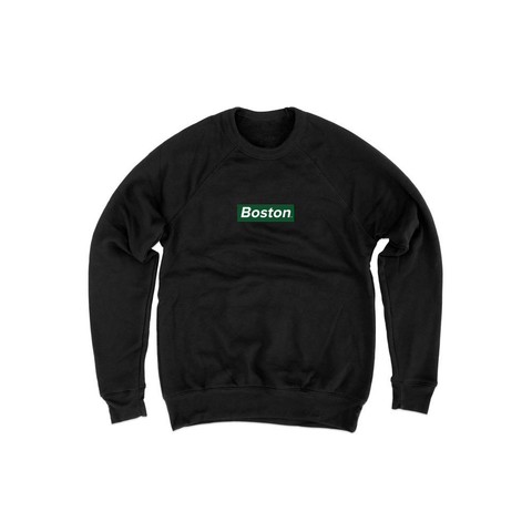 Ladies Box Logo Black Crewneck Sweatshirt - THE LABEL LTD