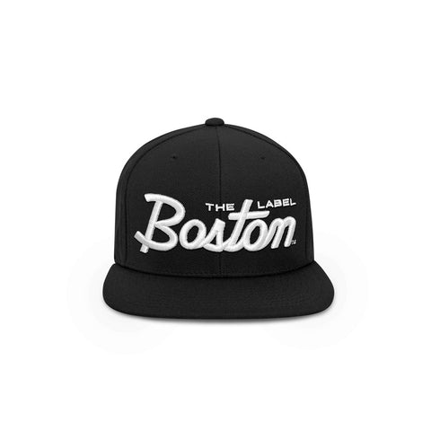 BLACK BOSTON SCRIPT SNAPBACK