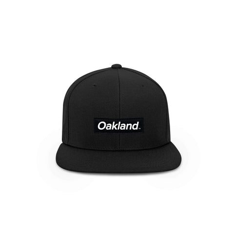 Oakland Black Box Logo Snapback Hat - THE LABEL LTD